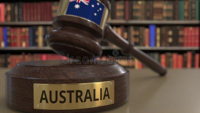 Σημαία της Αυστραλίας μειωμένο gavel δικαστών στο δικαστήριο Η εθνική δικαιοσύνη ή η αρμοδιότητα αφορούσε την εννοιολογική τρισδι ελεύθερη απεικόνιση δικαιώματος