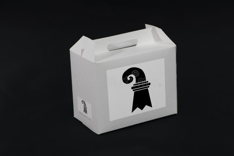 Σημαία της Βασιλείας Σταντ στο λευκό κουτί με γραμμικό κώδικα και σημαία χρώματος καντονίου της Ελβετίας στο μαύρο φόντο Η έννοια στοκ εικόνες με δικαίωμα ελεύθερης χρήσης