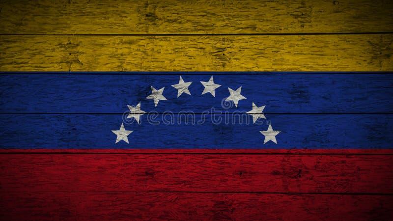 Σημαία της Βενεζουέλας που χρωματίζεται στους παλαιούς ξύλινους πίνακες ξύλινη σημαία της Βενεζουέλας Αφηρημένο υπόβαθρο σημαιών  διανυσματική απεικόνιση