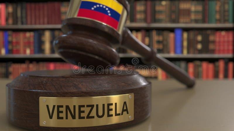 Σημαία της Βενεζουέλας gavel δικαστών στο δικαστήριο Η εθνική δικαιοσύνη ή η αρμοδιότητα αφορούσε την εννοιολογική τρισδιάστατη α απεικόνιση αποθεμάτων
