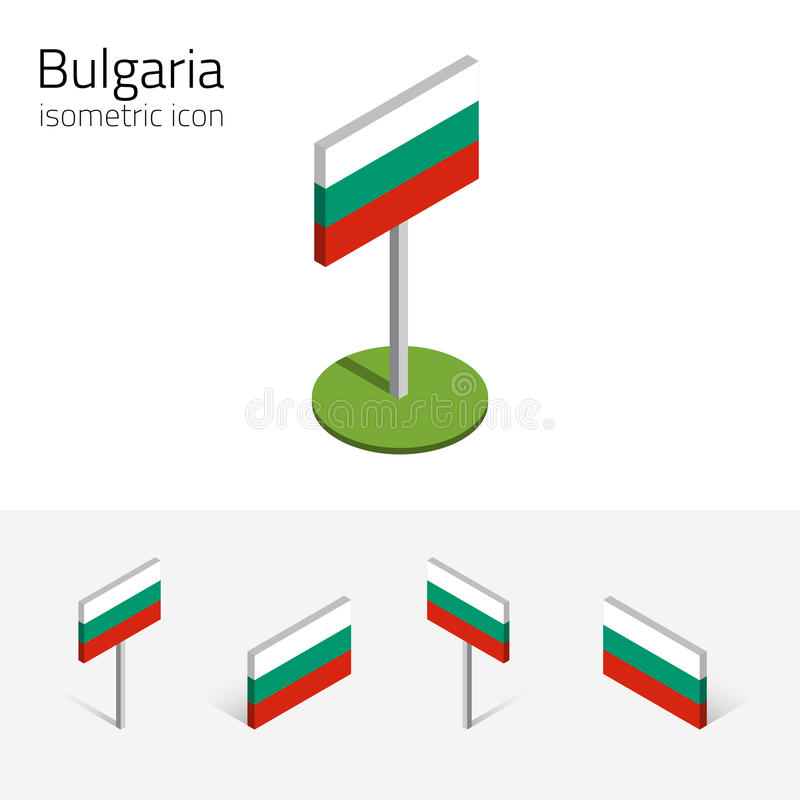 Σημαία της Βουλγαρίας, διανυσματικό σύνολο τρισδιάστατων isometric εικονιδίων διανυσματική απεικόνιση