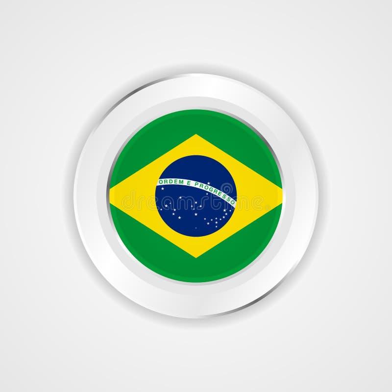 Σημαία της Βραζιλίας στο στιλπνό εικονίδιο διανυσματική απεικόνιση