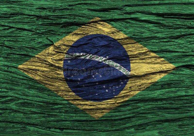 Σημαία της Βραζιλίας με την υψηλή λεπτομέρεια του παλαιού ξύλινου υποβάθρου στοκ φωτογραφία