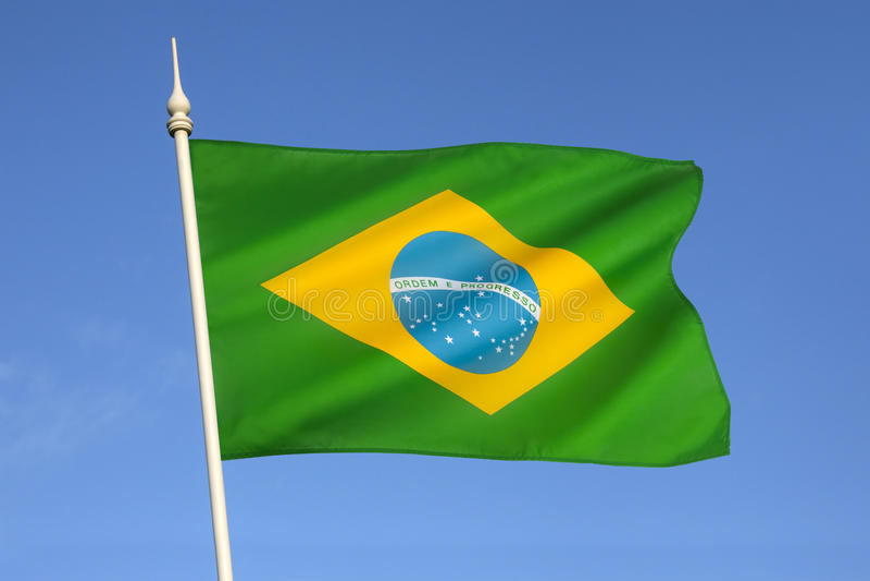 Σημαία της Βραζιλίας - της Νότιας Αμερικής στοκ εικόνες με δικαίωμα ελεύθερης χρήσης