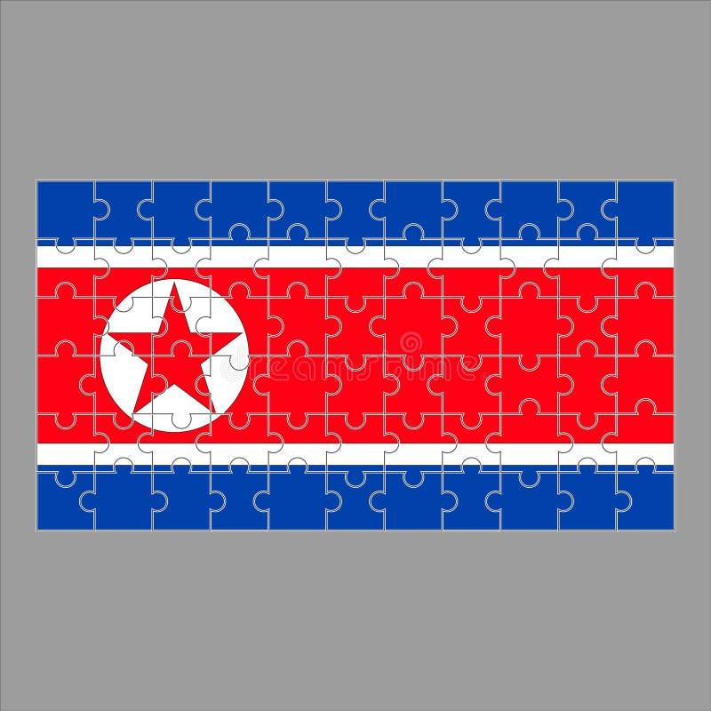 Σημαία της Βόρεια Κορέας από τους γρίφους σε ένα γκρίζο υπόβαθρο απεικόνιση αποθεμάτων