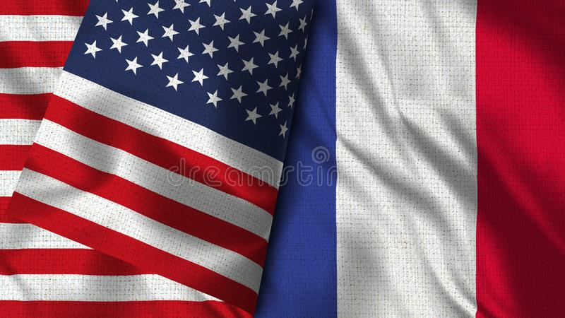 Σημαία της Γαλλίας και των ΗΠΑ - τρισδιάστατη απεικόνιση δύο σημαία ελεύθερη απεικόνιση δικαιώματος