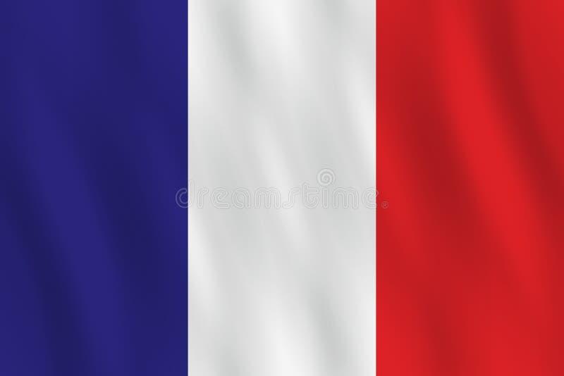 Σημαία της Γαλλίας με την επίδραση κυματισμού, επίσημη αναλογία απεικόνιση αποθεμάτων