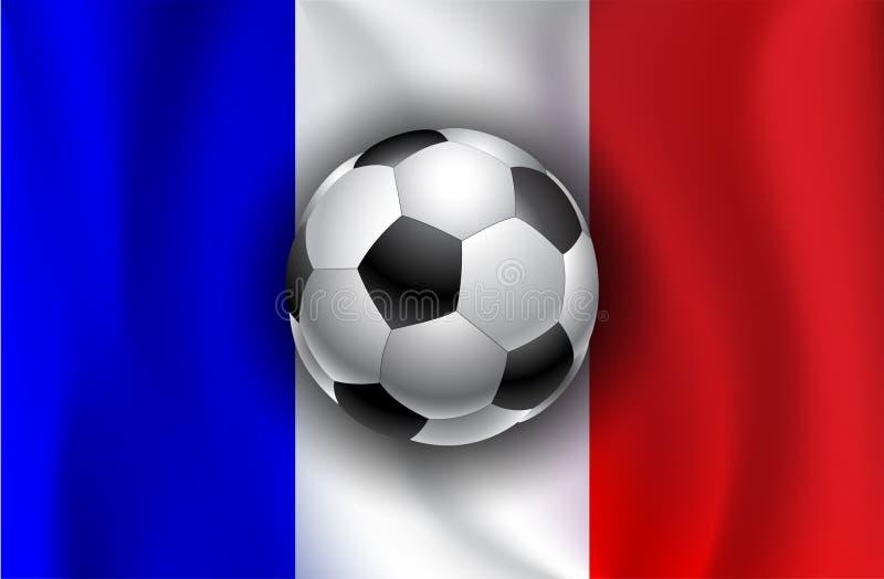 Σημαία της Γαλλίας με τις σφαίρες ποδοσφαίρου ελεύθερη απεικόνιση δικαιώματος