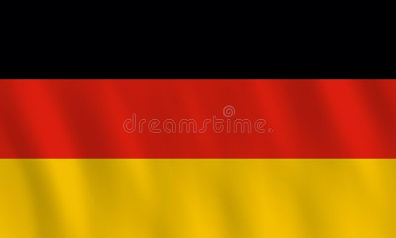 Σημαία της Γερμανίας με την επίδραση κυματισμού, επίσημη αναλογία διανυσματική απεικόνιση