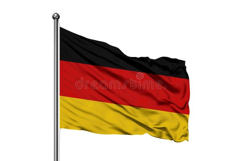 Σημαία της Γερμανίας που κυματίζει στον αέρα, απομονωμένο άσπρο υπόβαθρο Γερμανική σημαία στοκ εικόνα