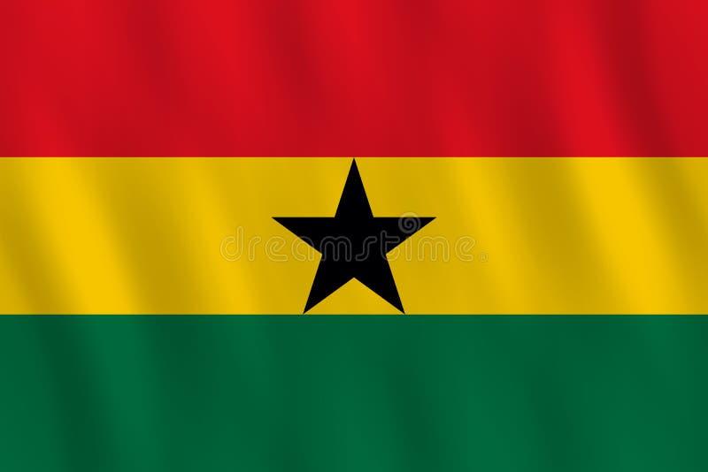 Σημαία της Γκάνας με την επίδραση κυματισμού, επίσημη αναλογία διανυσματική απεικόνιση
