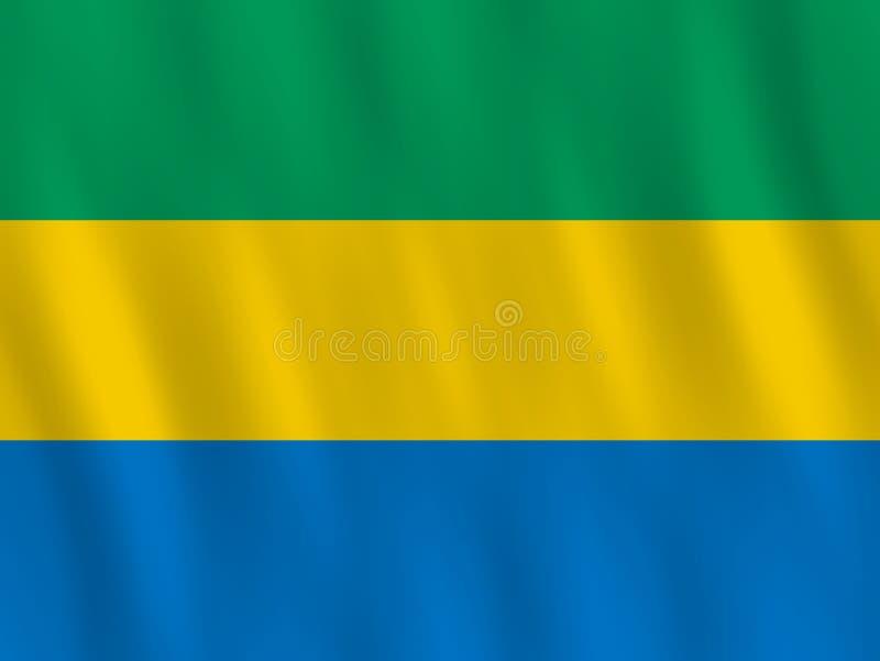 Σημαία της Γκαμπόν με την επίδραση κυματισμού, επίσημη αναλογία ελεύθερη απεικόνιση δικαιώματος