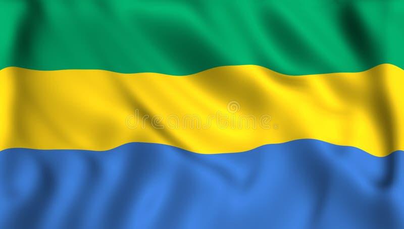 Σημαία της Γκαμπόν που κυματίζει στον αέρα απεικόνιση αποθεμάτων