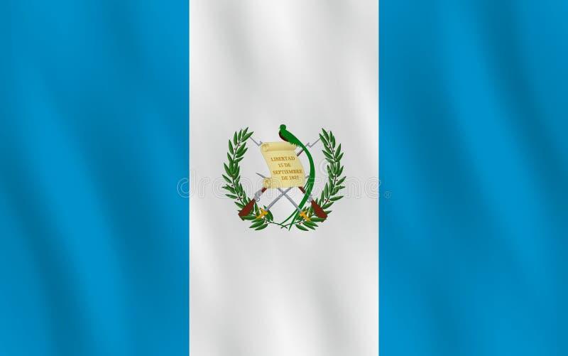 Σημαία της Γουατεμάλα με την επίδραση κυματισμού, επίσημη αναλογία διανυσματική απεικόνιση