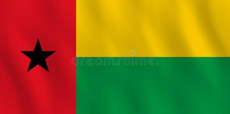 Σημαία της Γουινέα-Μπισσάου με την επίδραση κυματισμού, επίσημη αναλογία απεικόνιση αποθεμάτων