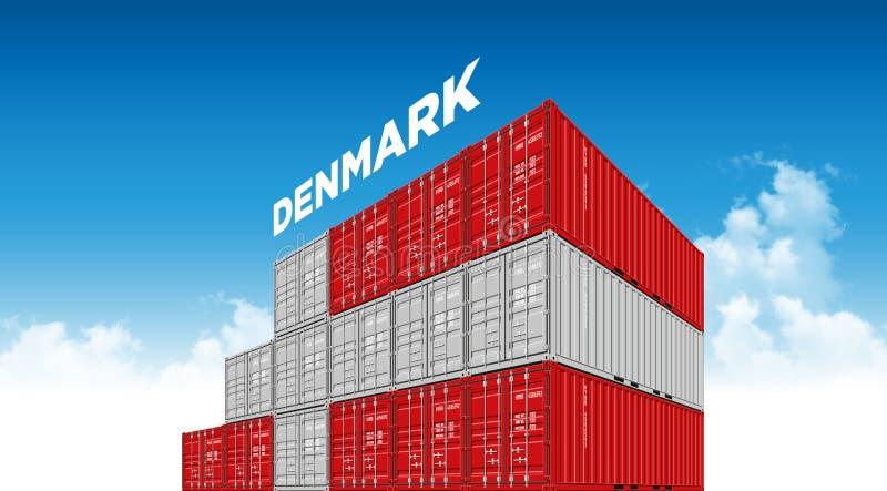 Σημαία της Δανίας εμπορευματοκιβωτίων στέλνοντας φορτίου για τις διοικητικές μέριμνες και μεταφορά με τα σύννεφα ελεύθερη απεικόνιση δικαιώματος