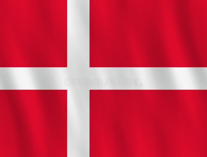Σημαία της Δανίας με την επίδραση κυματισμού, επίσημη αναλογία ελεύθερη απεικόνιση δικαιώματος