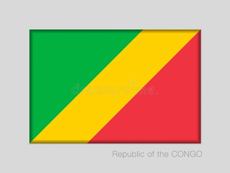 Σημαία της Δημοκρατίας του Κονγκό Εθνικός Ensign λόγος διάστασης 2 έως 3 στο γκρίζο χαρτόνι ελεύθερη απεικόνιση δικαιώματος