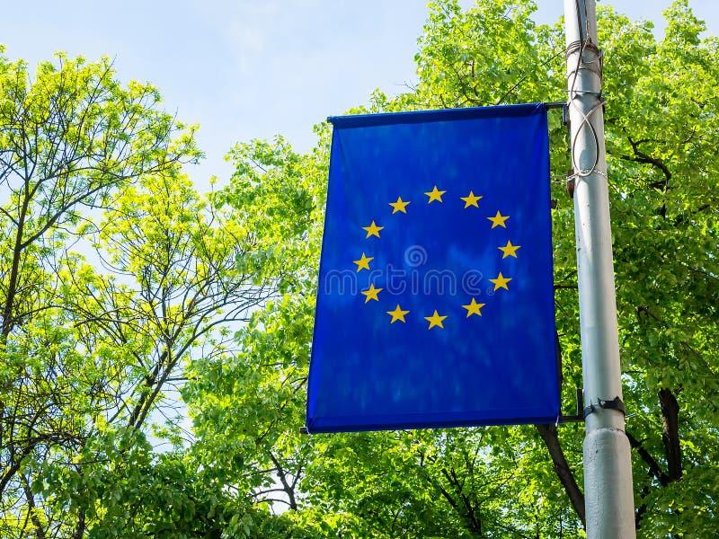 Σημαία της ΕΕ σε έναν πόλο σε ένα υπόβαθρο των πράσινων δέντρων μια ηλιόλουστη ημέρα Σημαία της Ευρωπαϊκής Ένωσης υπαίθρια Μπλε σ στοκ εικόνες