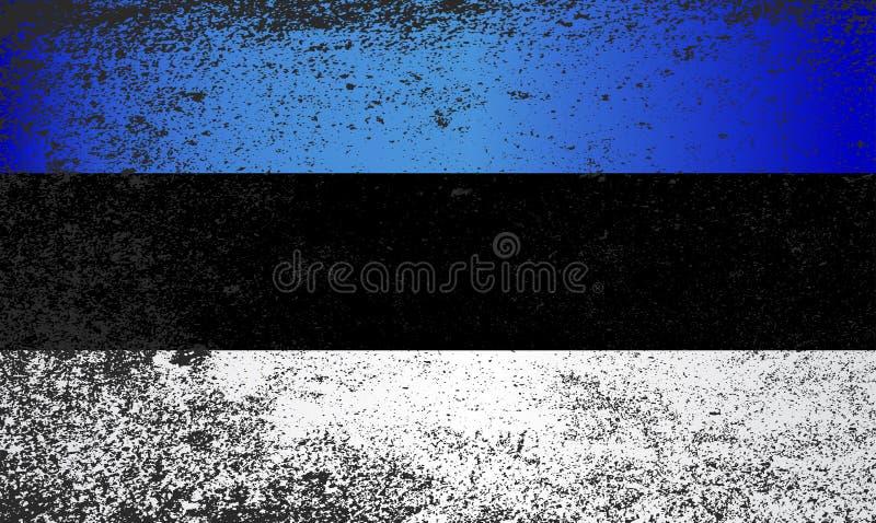 Σημαία της Εσθονίας με βαρύ μαύρο Grunge διανυσματική απεικόνιση