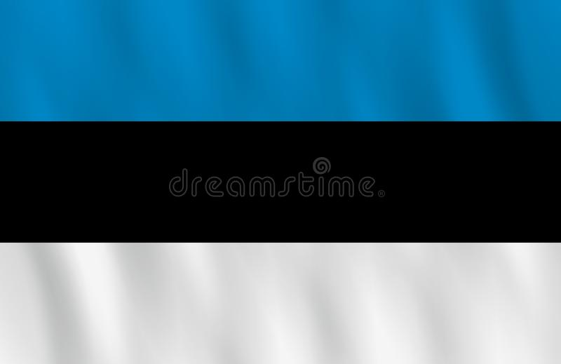 Σημαία της Εσθονίας με την επίδραση κυματισμού, επίσημη αναλογία απεικόνιση αποθεμάτων