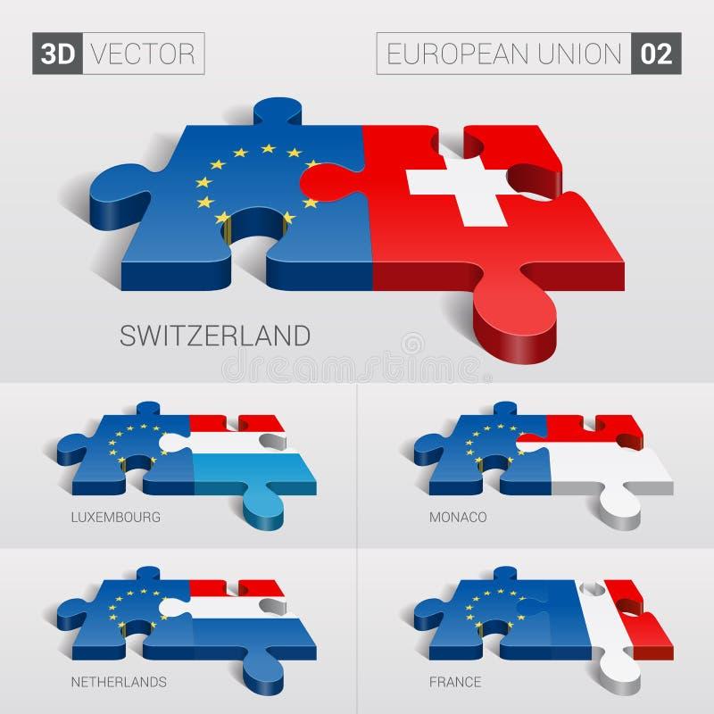 Σημαία της Ευρωπαϊκής Ένωσης και της Ελβετίας, Λουξεμβούργο, Μονακό, Κάτω Χώρες, Γαλλία τρισδιάστατο διάνυσμα γρίφων Σύνολο 02 απεικόνιση αποθεμάτων