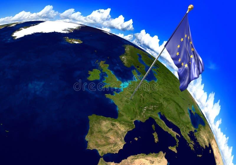 Σημαία της Ευρωπαϊκής Ένωσης που χαρακτηρίζει τη θέση της Ευρώπης στον παγκόσμιο χάρτη τρισδιάστατη απόδοση απεικόνιση αποθεμάτων