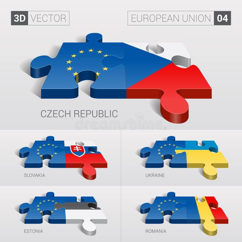 Σημαία της Ευρωπαϊκής Ένωσης τρισδιάστατο διάνυσμα γρίφων Σύνολο 04 απεικόνιση αποθεμάτων
