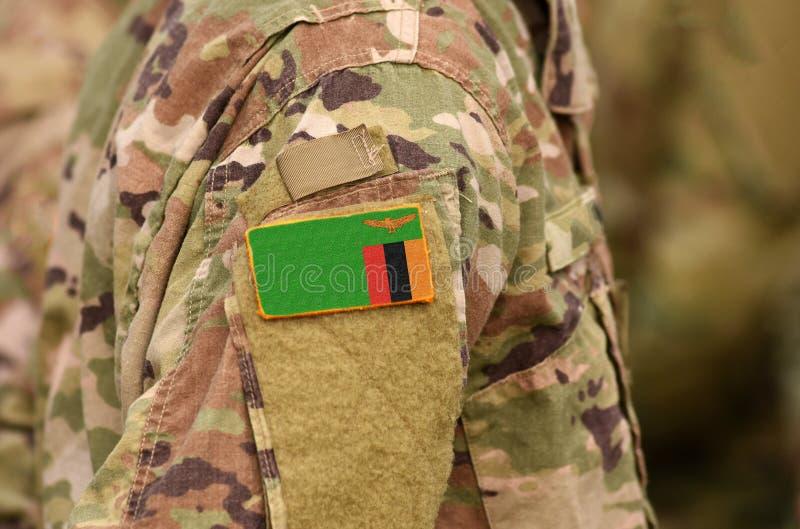 Σημαία της Ζάμπια στο βραχίονα στρατιωτών Κολάζ στρατευμάτων της Ζάμπια στοκ εικόνες με δικαίωμα ελεύθερης χρήσης