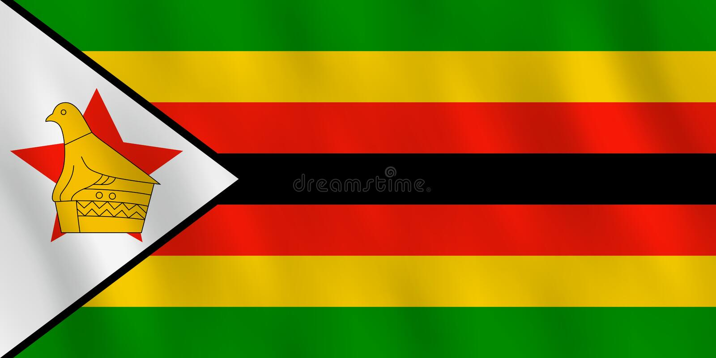 Σημαία της Ζιμπάμπουε με την επίδραση κυματισμού, επίσημη αναλογία ελεύθερη απεικόνιση δικαιώματος