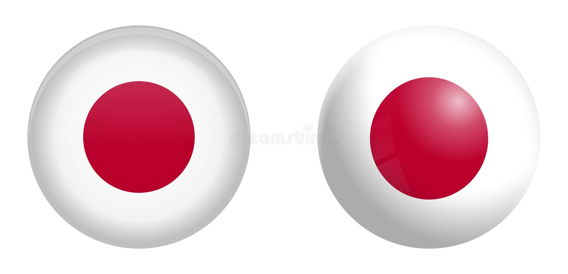 Σημαία της Ιαπωνίας κάτω από το τρισδιάστατο κουμπί θόλων και στη στιλπνές σφαίρα/τη σφαίρα διανυσματική απεικόνιση