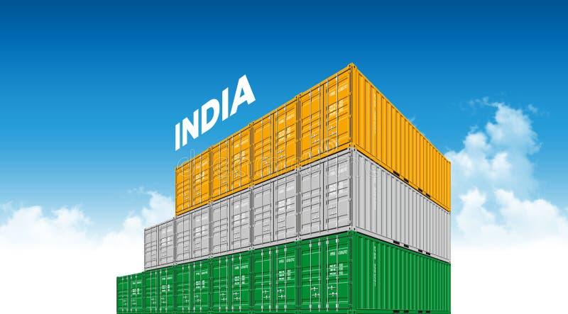 Σημαία της Ινδίας εμπορευματοκιβωτίων στέλνοντας φορτίου για τις διοικητικές μέριμνες και μεταφορά με τα σύννεφα ελεύθερη απεικόνιση δικαιώματος