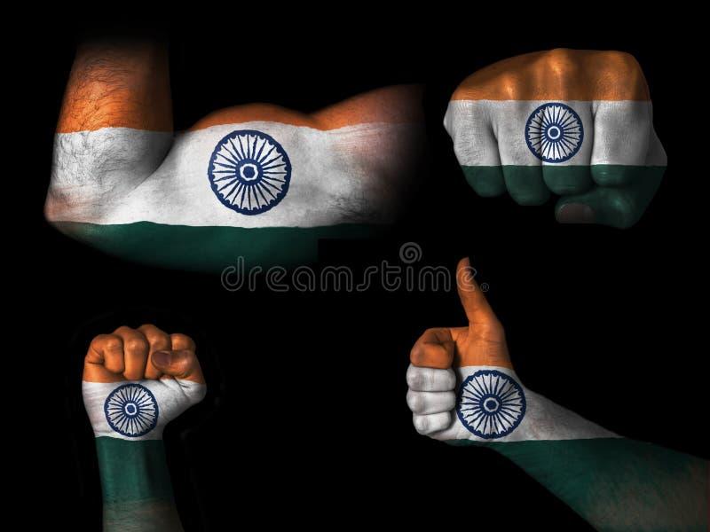 Σημαία της Ινδίας στα μέλη του σώματος στοκ φωτογραφία με δικαίωμα ελεύθερης χρήσης