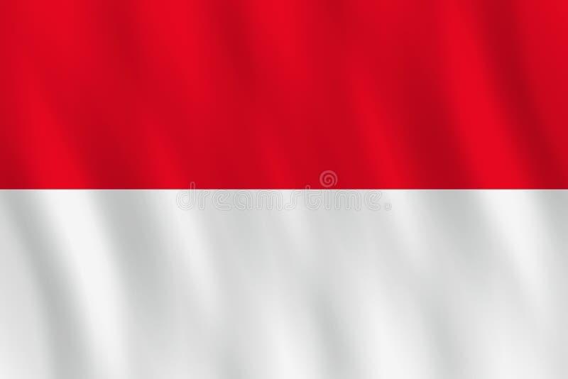 Σημαία της Ινδονησίας με την επίδραση κυματισμού, επίσημη αναλογία διανυσματική απεικόνιση