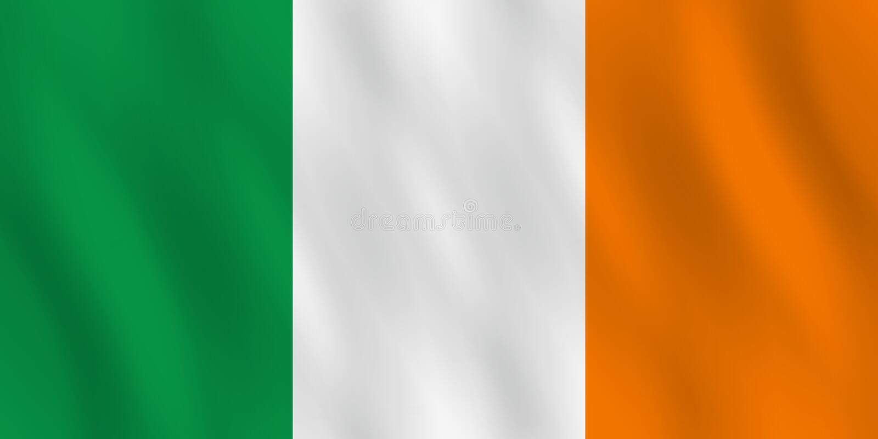 Σημαία της Ιρλανδίας με την επίδραση κυματισμού, επίσημη αναλογία απεικόνιση αποθεμάτων