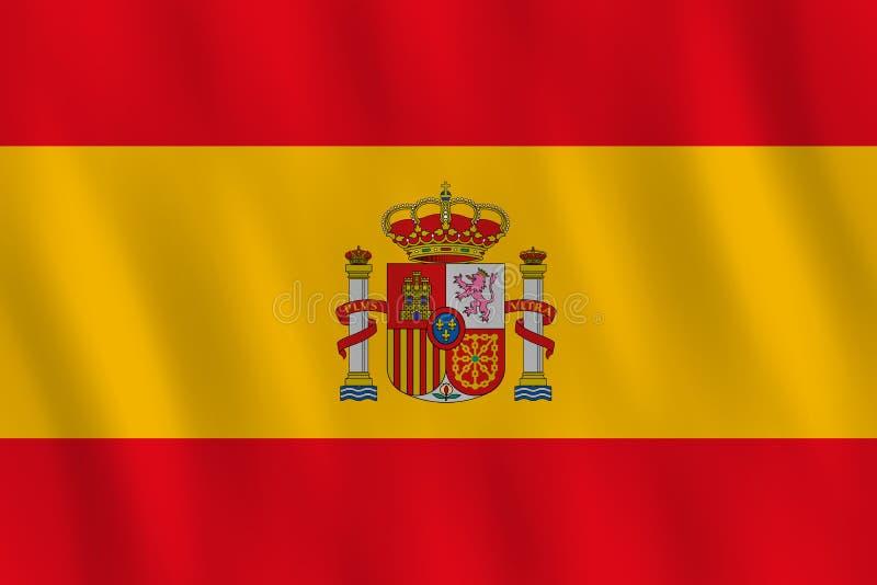 Σημαία της Ισπανίας με την επίδραση κυματισμού, επίσημη αναλογία διανυσματική απεικόνιση