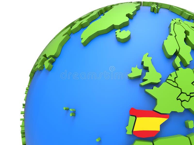 Σημαία της Ισπανίας σε όλη την τρισδιάστατη γήινη υδρόγειο ελεύθερη απεικόνιση δικαιώματος