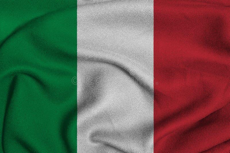 Σημαία της Ιταλίας από το πλεκτό εργοστάσιο ύφασμα Υπόβαθρα και συστάσεις στοκ εικόνα