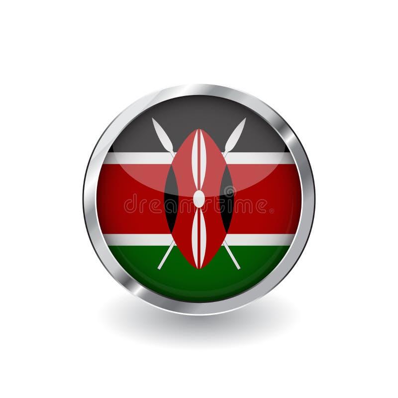Σημαία της Κένυας, κουμπί με το πλαίσιο μετάλλων και τη σκιά διανυσματικό εικονίδιο σημαιών της Κένυας, διακριτικό με τη στιλπνή  ελεύθερη απεικόνιση δικαιώματος