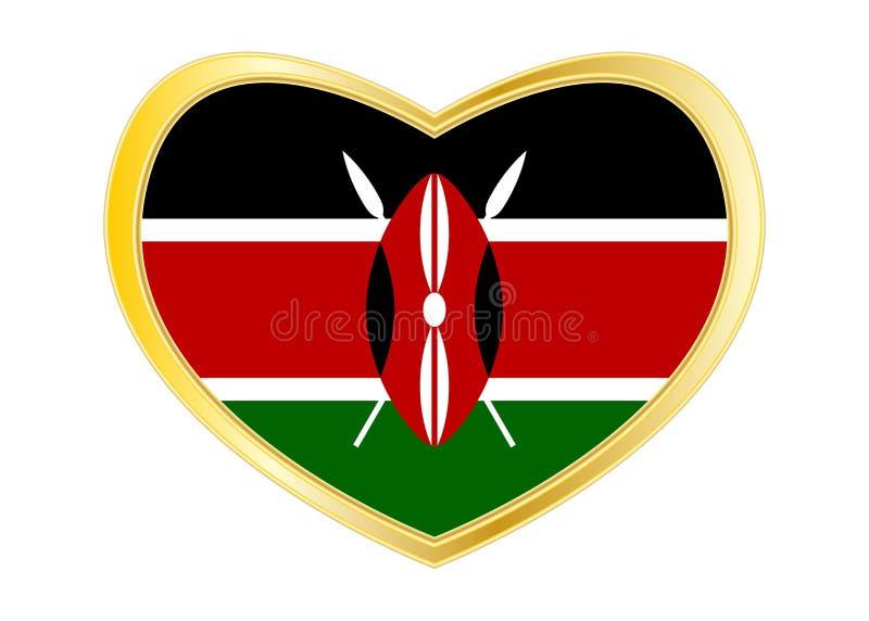 Σημαία της Κένυας στη μορφή καρδιών, χρυσό πλαίσιο ελεύθερη απεικόνιση δικαιώματος