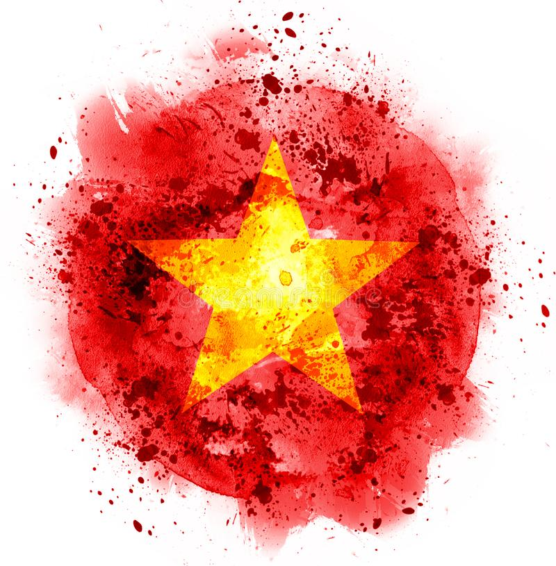 Σημαία της Κίνας αστεριών Watercolor στοκ εικόνες