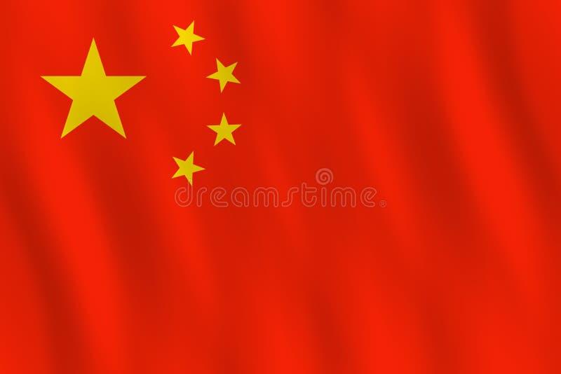 Σημαία της Κίνας με την επίδραση κυματισμού, επίσημη αναλογία διανυσματική απεικόνιση