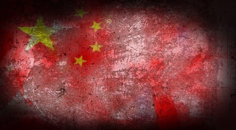 Σημαία της Κίνας Grunge στην κινηματογράφηση σε πρώτο πλάνο υποβάθρου σύστασης πετρών απεικόνιση αποθεμάτων
