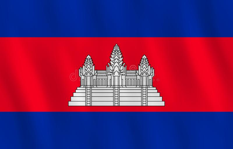 Σημαία της Καμπότζης με την επίδραση κυματισμού, επίσημη αναλογία απεικόνιση αποθεμάτων