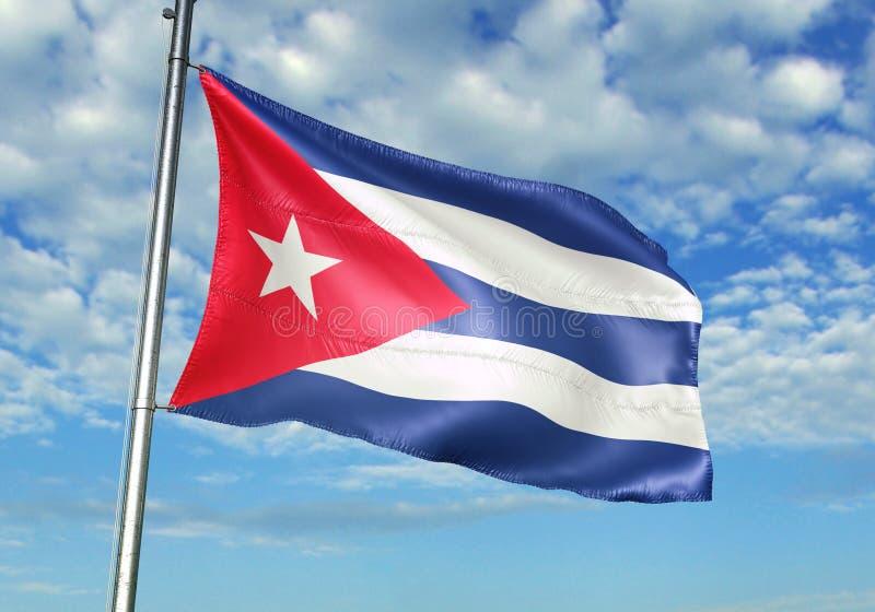 Σημαία της Κούβας που κυματίζει με τον ουρανό στη ρεαλιστική τρισδιάστατη απεικόνιση υποβάθρου απεικόνιση αποθεμάτων