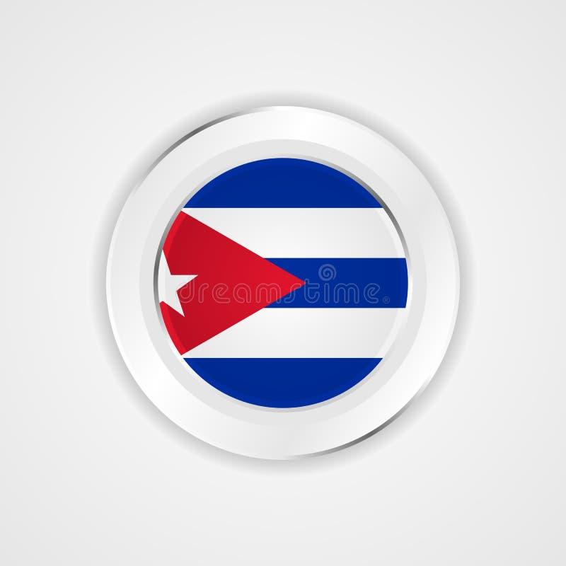 Σημαία της Κούβας στο στιλπνό εικονίδιο απεικόνιση αποθεμάτων
