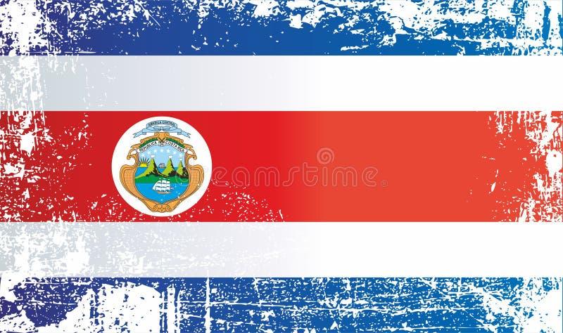 Σημαία της Κόστα Ρίκα Ζαρωμένα βρώμικα σημεία ελεύθερη απεικόνιση δικαιώματος