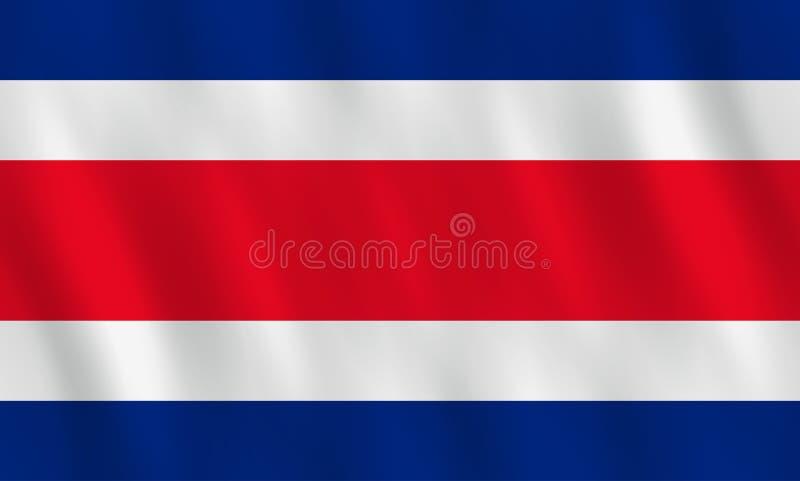 Σημαία της Κόστα Ρίκα με την επίδραση κυματισμού, επίσημη αναλογία απεικόνιση αποθεμάτων