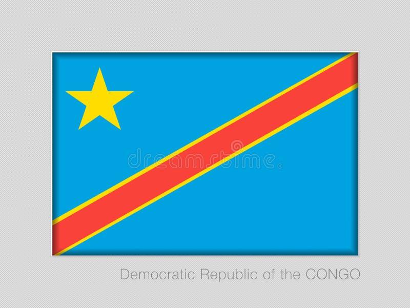 Σημαία της λαϊκής Δημοκρατίας του Κονγκό Εθνικός Ensign λόγος διάστασης 2 έως 3 στο γκρίζο χαρτόνι ελεύθερη απεικόνιση δικαιώματος