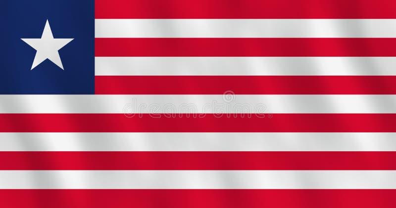 Σημαία της Λιβερίας με την επίδραση κυματισμού, επίσημη αναλογία διανυσματική απεικόνιση